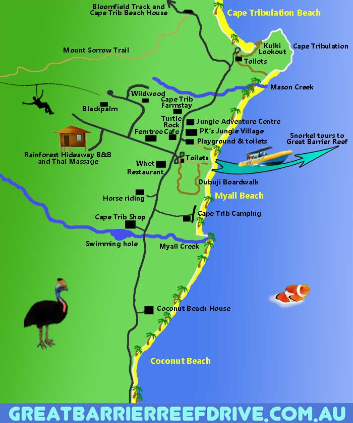 Worksheet. Maps of The Great Barrier Reef Drive from Cairns to Cape Tribulation