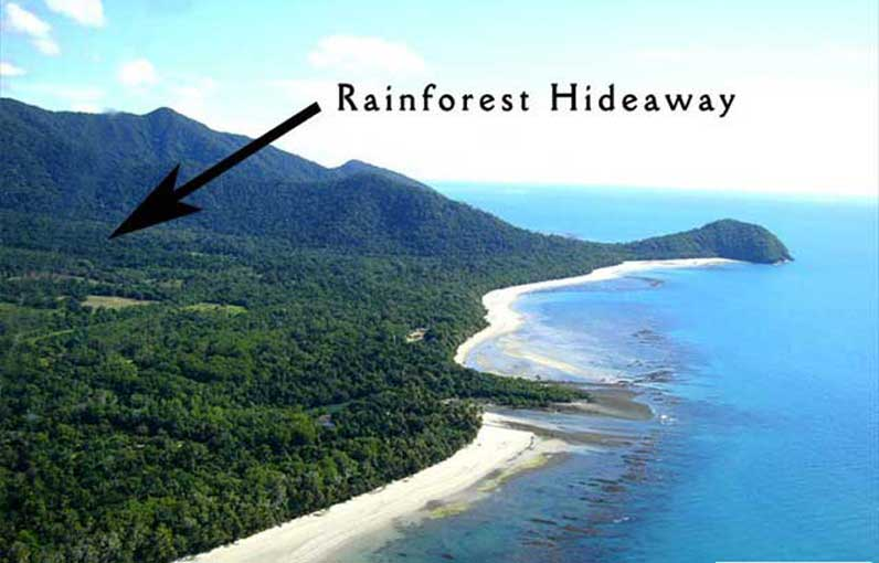 Location of Rainforest Hideaway in Cape Tribulation